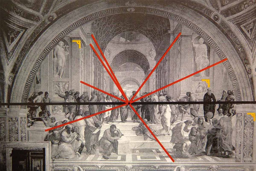 Raphael School of Athens Two point analysis. Image via pinterest.com  1024x683 - 美術の力